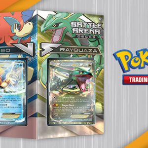 Rayquaza and Keldeo go head to head in the new Pokémon TCG Battle Arena Decks! These two 60-card decks are ready to play right away, with powerful cards and winning strategies worthy of an ace Trainer. Each deck is led by an exceptional Pokémon-EX and includes 10 foil cards. Let the battle begin!