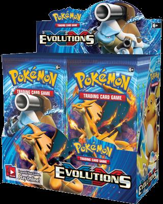 Een boosterbox Pokemon kaarten Evolutions uit november 2016. In elke box zitten 36 boosters. Elke booster bevat 10 pokemonkaarten en een code om een booster te unlocken in het computerspel Pokemon TCG Online.