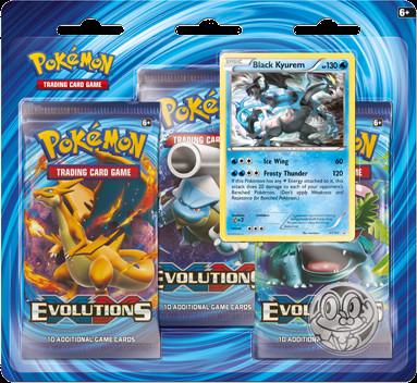 Deze blisterpack uit de set Pokemon Evolutions bevat 3 booster packs van de Evolutions set, een holokaart van de pokemon Black Kyurem en een Froakie muntje.