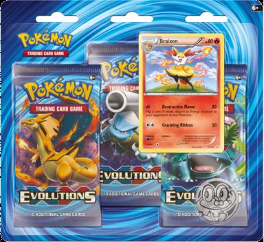 Deze blisterpack uit de set Pokemon Evolutions bevat 3 booster packs van de Evolutions set, een holokaart van de pokemon Braixen en een Fennekin muntje.