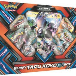 De shiny Tapu-Kokp-GX box. Deze box bevat: 1 Shiny Tapu Koko-GX foil promokaart 4 Pokémon boosterpacks 1 oversized foil promokaart van Shiny Tapu Koko-GX 1 codekaart voor de Pokémon Trading Card Game Online.