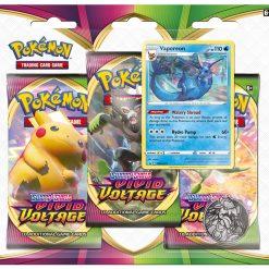 Pokemon Sword & Shield Vivid Voltage Vaporeon 3 Booster Blister
