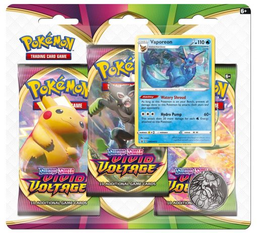 Pokemon Sword & Shield Vivid Voltage Vaporeon 3 Booster Blister