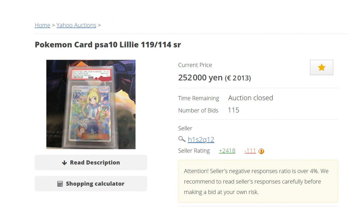 Japanse PSA 10 Lillie Full Art geveild in Japan en ze was niet goedkoop