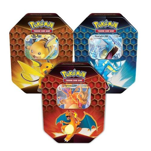 Pokemon Hidden Fates Tin Set met Charizard GX Raichu GX en Gyarados GX