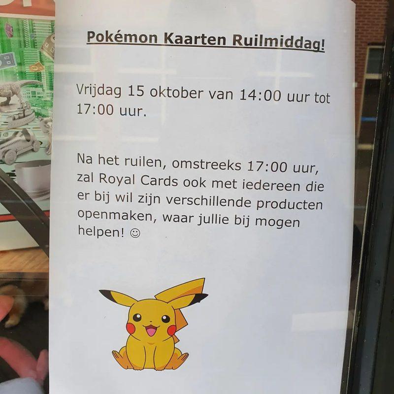 Pokemon kaarten ruildag op vrijdag 15 oktober